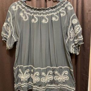 Sundance Silk Embroidered Blouse